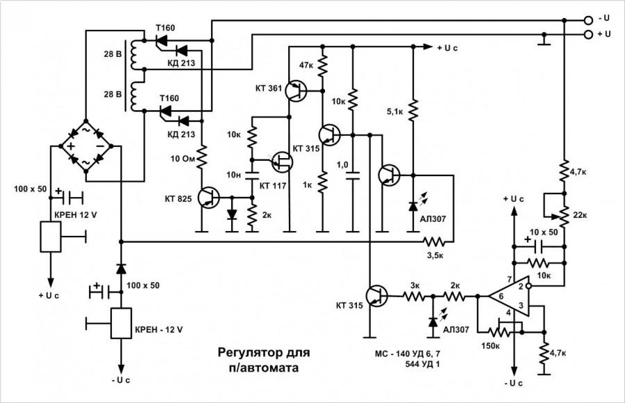 схема регулятора оборотов подачи проволоки на тиристоре
