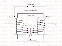 Намотка первичной обмотки на сердечник трансформатора второй вариант